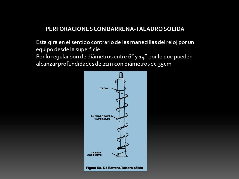 PERFORACIONES CON BARRENA-TALADRO SOLIDA