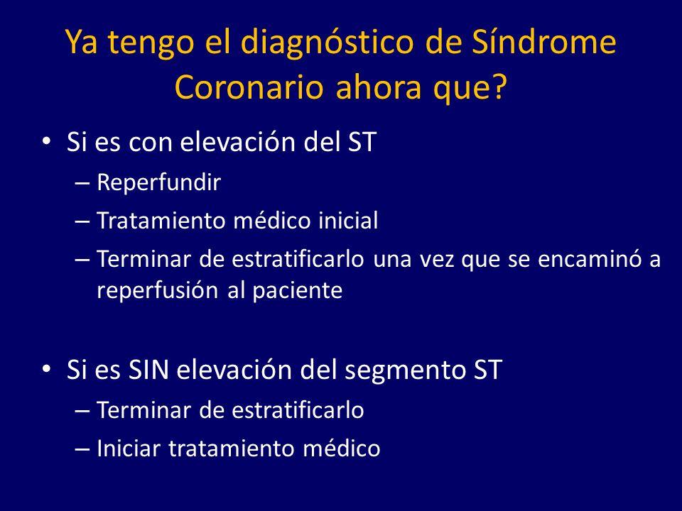 Ya tengo el diagnóstico de Síndrome Coronario ahora que