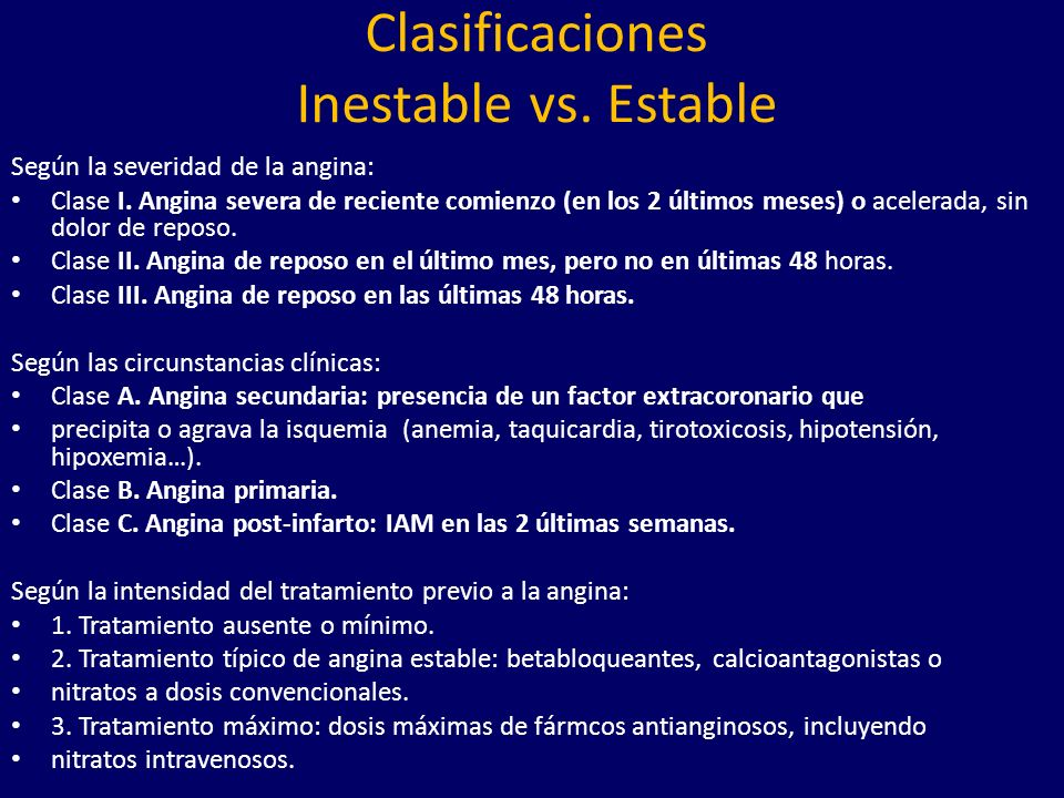 Clasificaciones Inestable vs. Estable