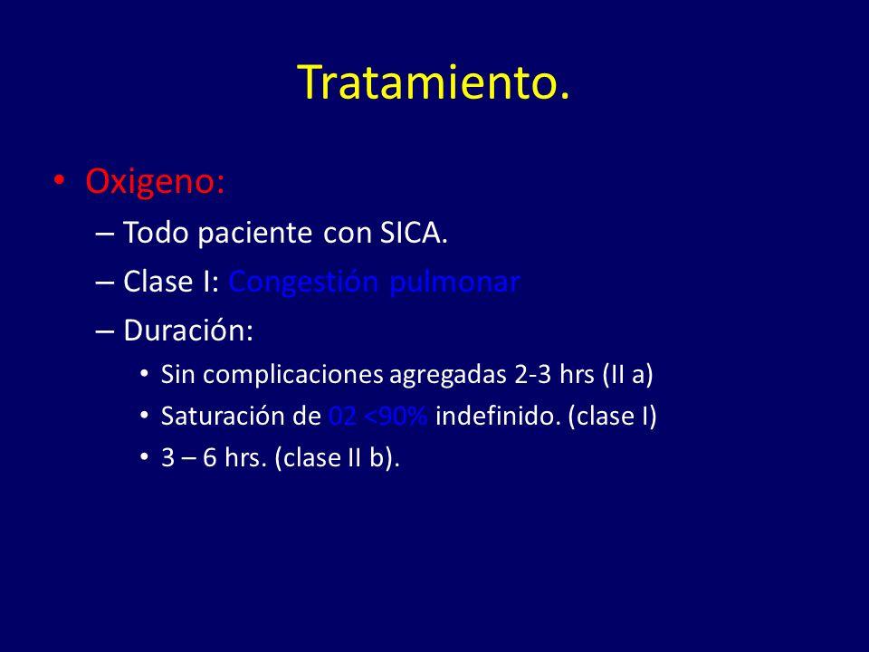 Tratamiento. Oxigeno: Todo paciente con SICA.