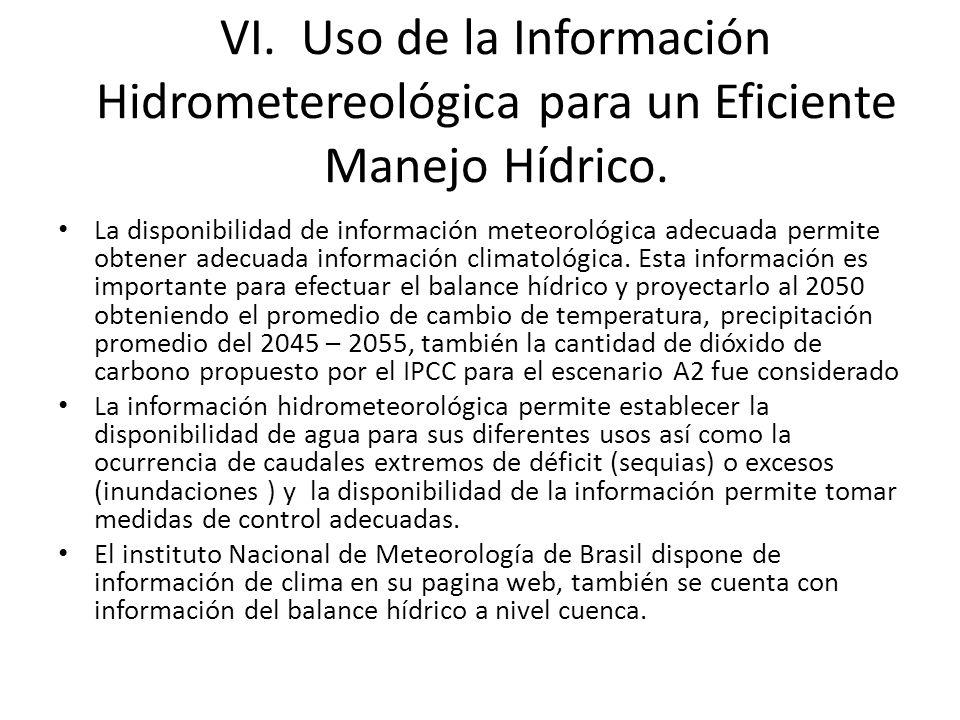 VI. Uso de la Información Hidrometereológica para un Eficiente Manejo Hídrico.