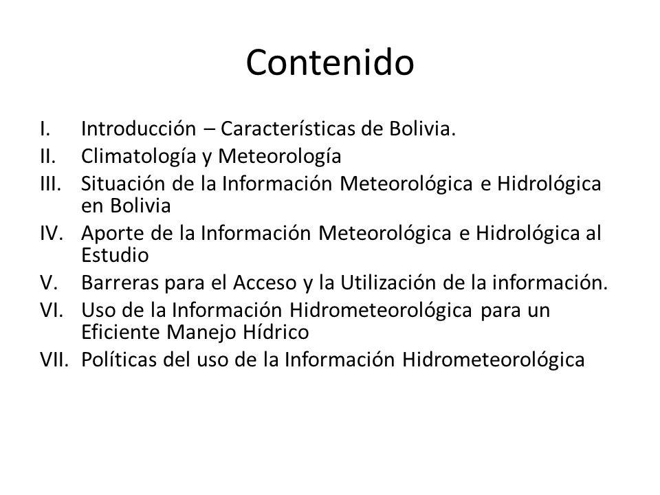 Contenido Introducción – Características de Bolivia.