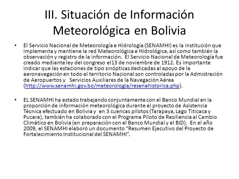 III. Situación de Información Meteorológica en Bolivia