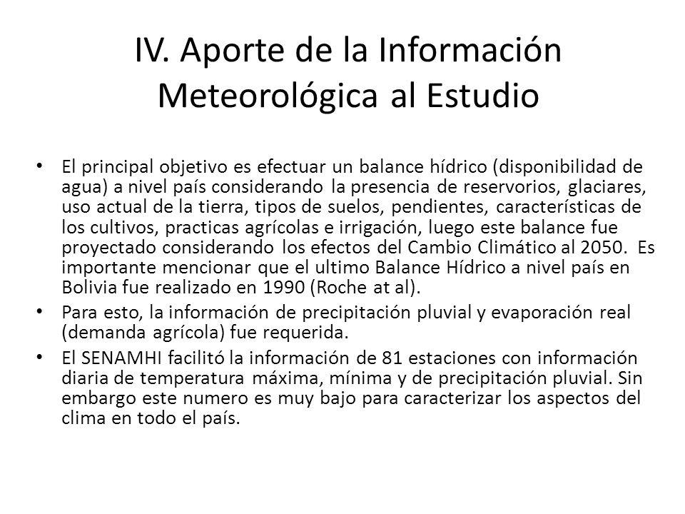 IV. Aporte de la Información Meteorológica al Estudio