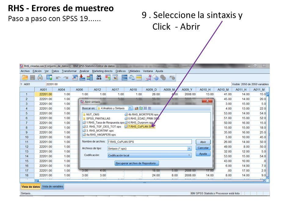 RHS - Errores de muestreo 9 . Seleccione la sintaxis y Click - Abrir