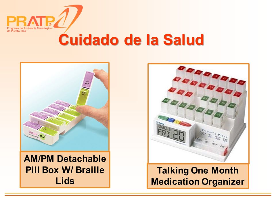 Cuidado de la Salud AM/PM Detachable Pill Box W/ Braille Lids