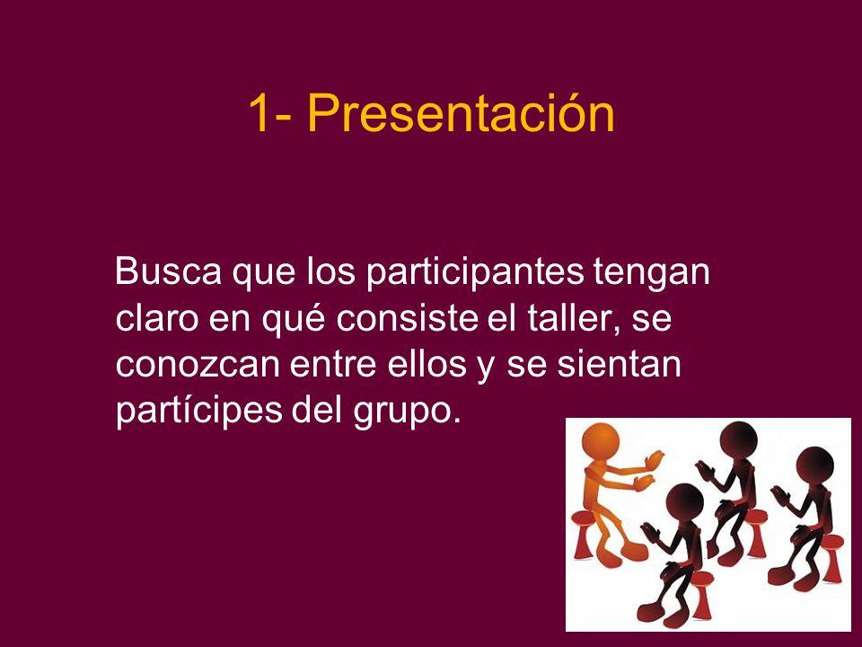 1- Presentación Busca que los participantes tengan claro en qué consiste el taller, se conozcan entre ellos y se sientan partícipes del grupo.