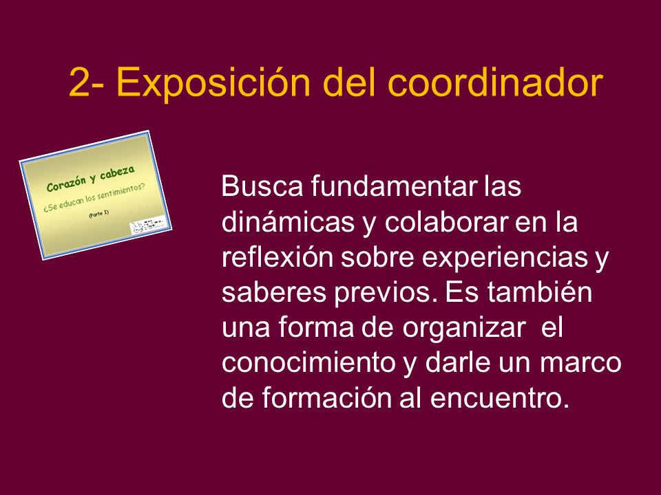 2- Exposición del coordinador