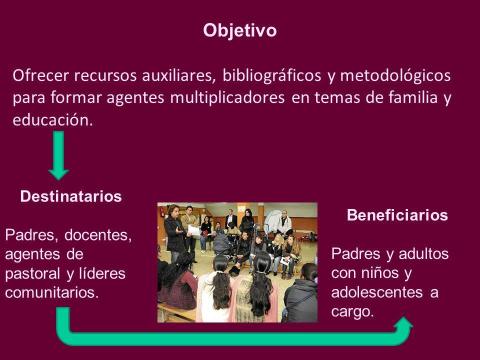 Objetivo Ofrecer recursos auxiliares, bibliográficos y metodológicos para formar agentes multiplicadores en temas de familia y educación.