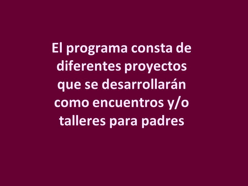 El programa consta de diferentes proyectos que se desarrollarán como encuentros y/o talleres para padres
