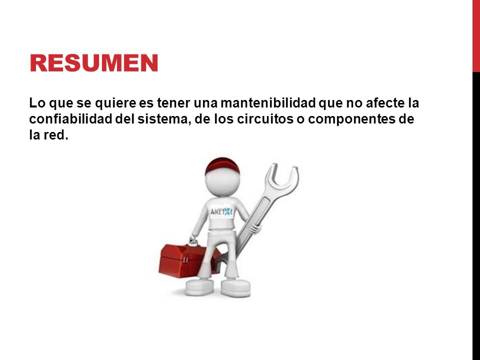 Resumen Lo que se quiere es tener una mantenibilidad que no afecte la confiabilidad del sistema, de los circuitos o componentes de la red.