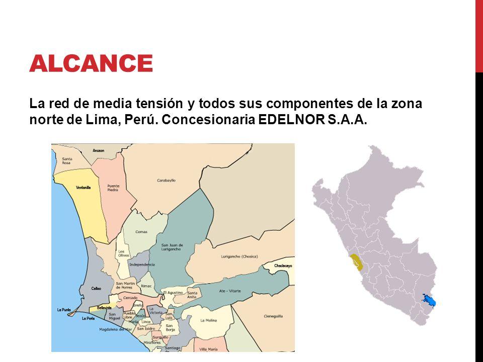 Alcance La red de media tensión y todos sus componentes de la zona norte de Lima, Perú.