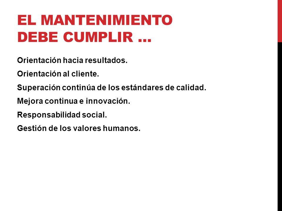 EL MANTENIMIENTO DEBE CUMPLIR …