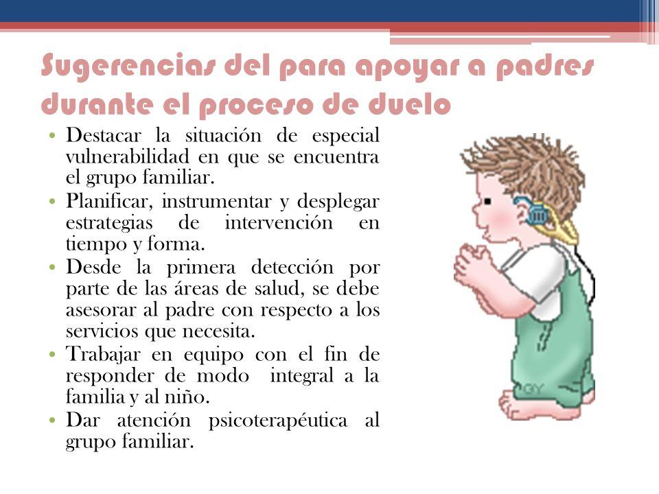 Sugerencias del para apoyar a padres durante el proceso de duelo