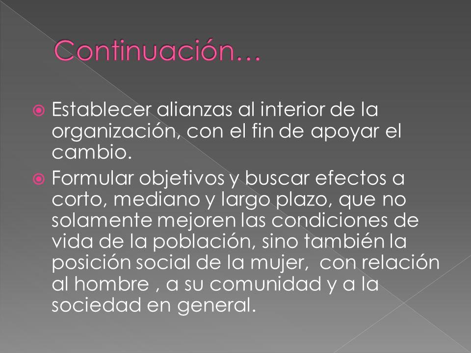 Continuación… Establecer alianzas al interior de la organización, con el fin de apoyar el cambio.