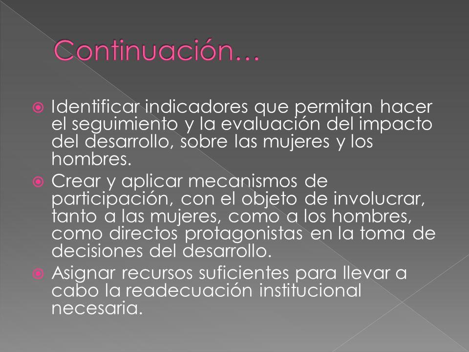 Continuación… Identificar indicadores que permitan hacer el seguimiento y la evaluación del impacto del desarrollo, sobre las mujeres y los hombres.