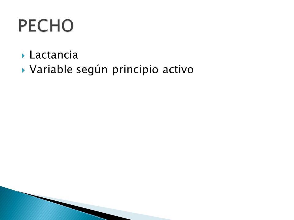 PECHO Lactancia Variable según principio activo
