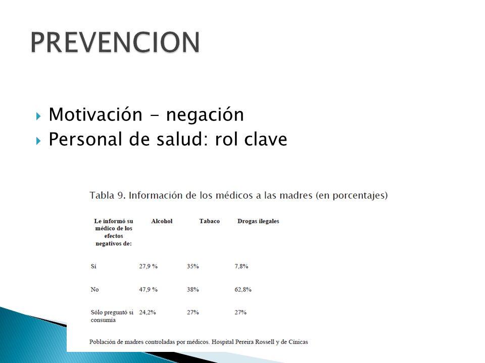 PREVENCION Motivación - negación Personal de salud: rol clave