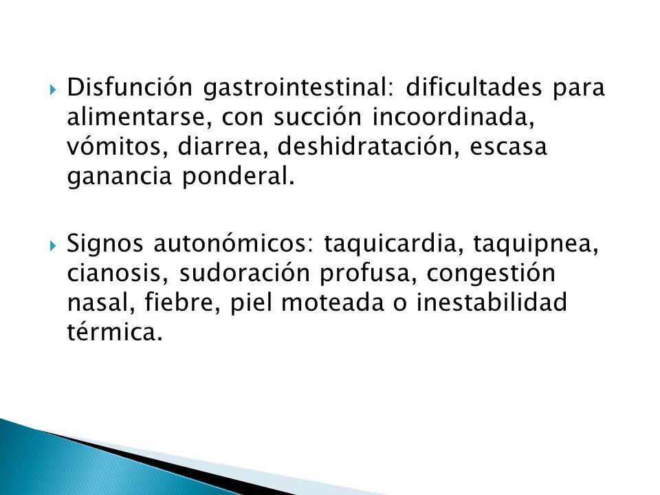 Disfunción gastrointestinal: dificultades para alimentarse, con succión incoordinada, vómitos, diarrea, deshidratación, escasa ganancia ponderal.