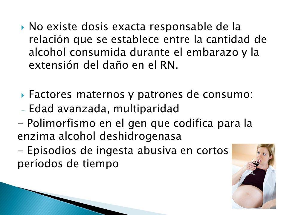 No existe dosis exacta responsable de la relación que se establece entre la cantidad de alcohol consumida durante el embarazo y la extensión del daño en el RN.