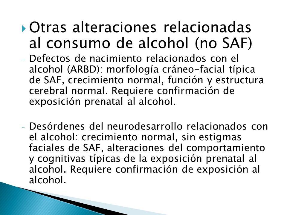 Otras alteraciones relacionadas al consumo de alcohol (no SAF)