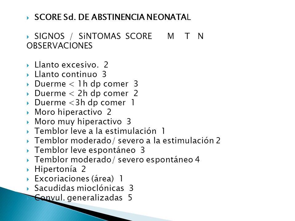 SCORE Sd. DE ABSTINENCIA NEONATAL