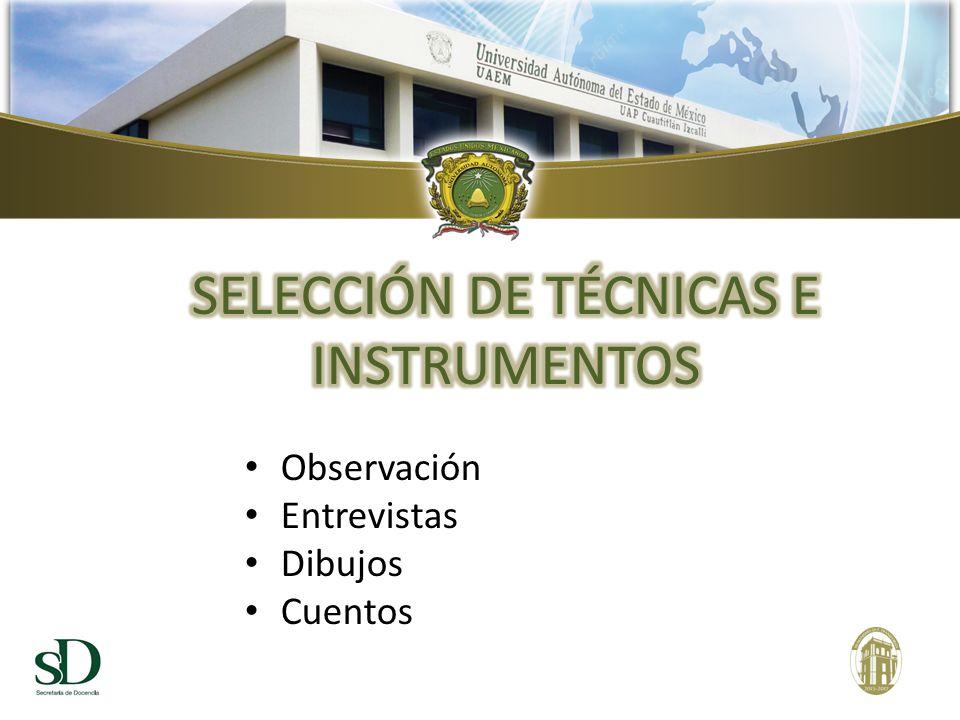 SELECCIÓN DE TÉCNICAS E INSTRUMENTOS