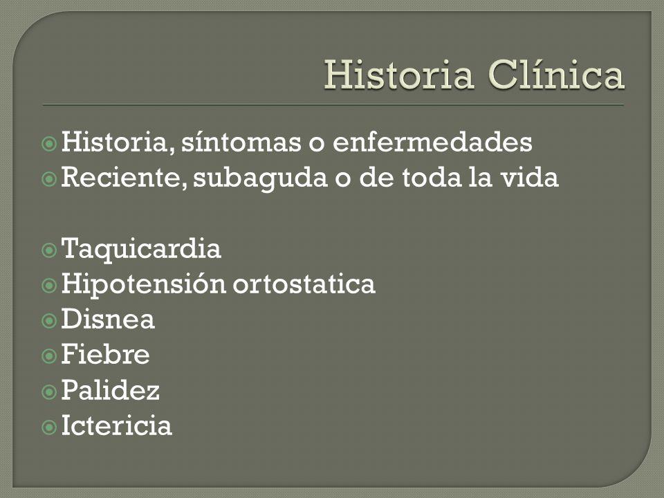 Historia Clínica Historia, síntomas o enfermedades