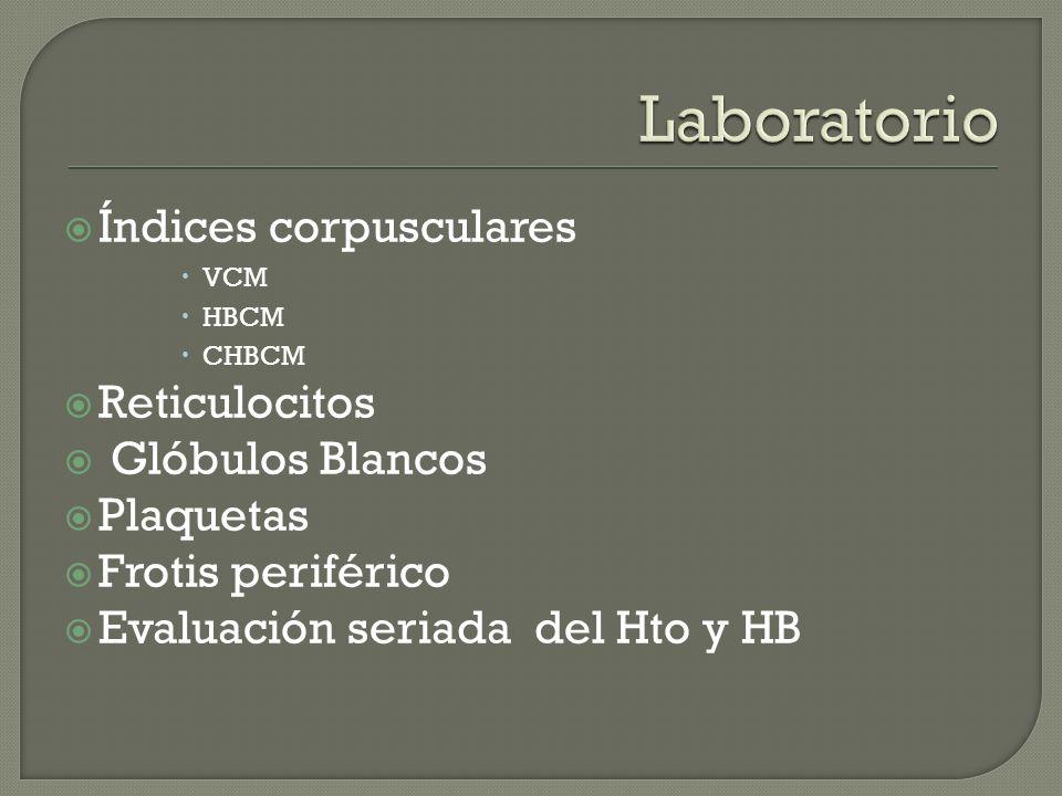 Laboratorio Índices corpusculares Reticulocitos Glóbulos Blancos