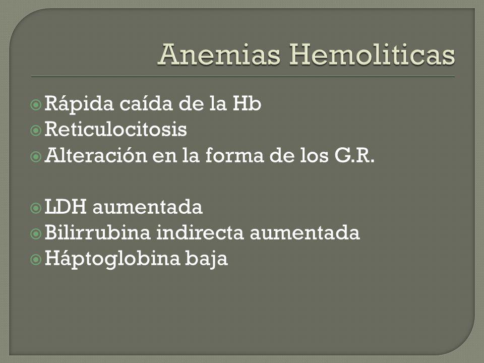 Anemias Hemoliticas Rápida caída de la Hb Reticulocitosis