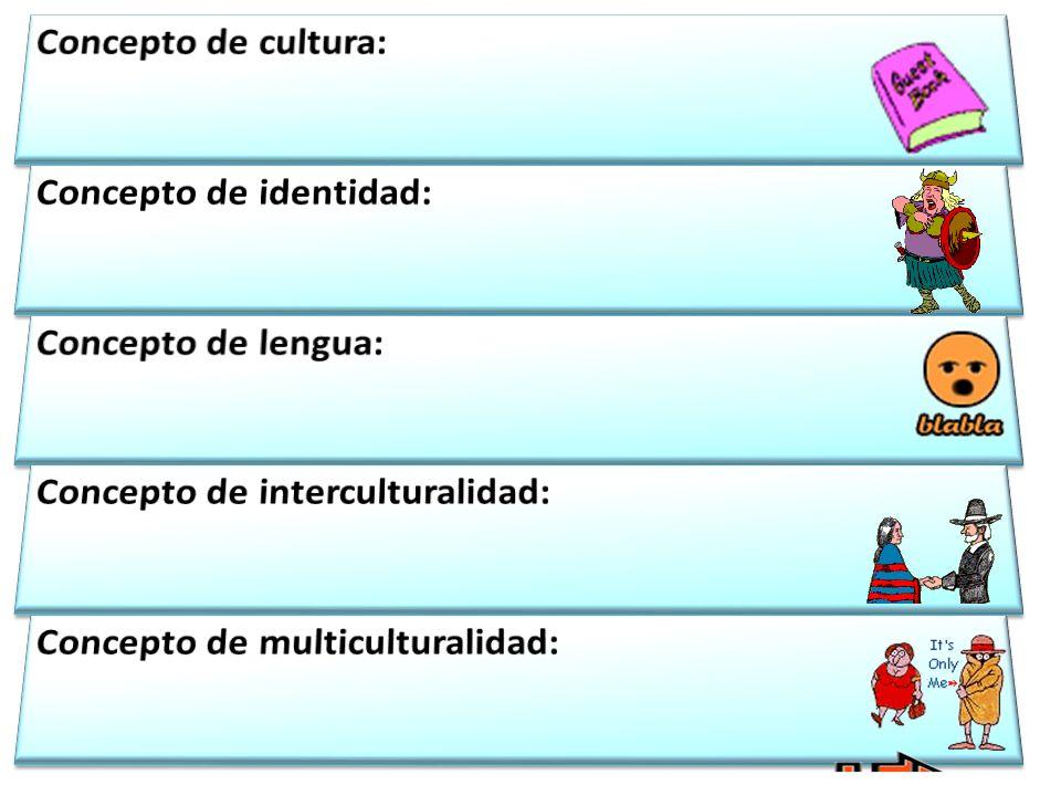 Concepto de cultura: Concepto de identidad: Concepto de lengua: Concepto de interculturalidad: Concepto de multiculturalidad: