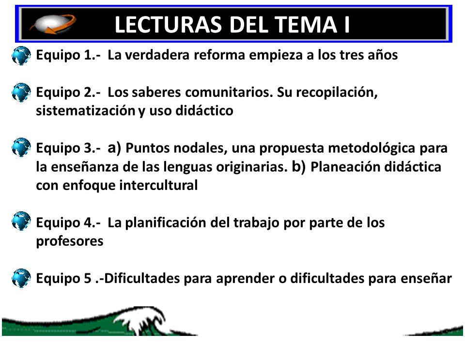 LECTURAS DEL TEMA I Equipo 1.- La verdadera reforma empieza a los tres años.