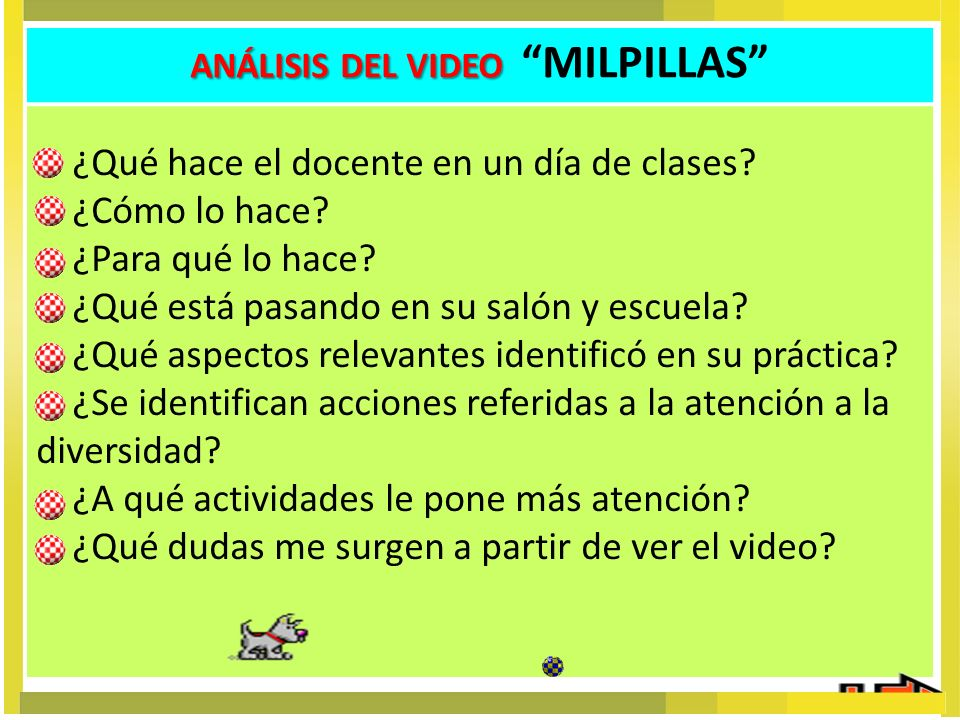 ANÁLISIS DEL VIDEO MILPILLAS