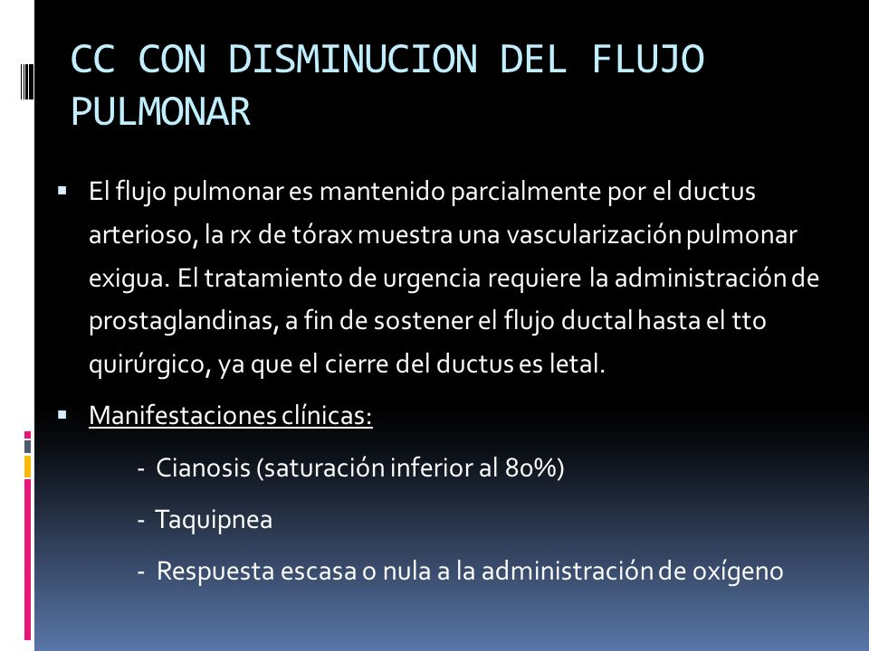 CC CON DISMINUCION DEL FLUJO PULMONAR
