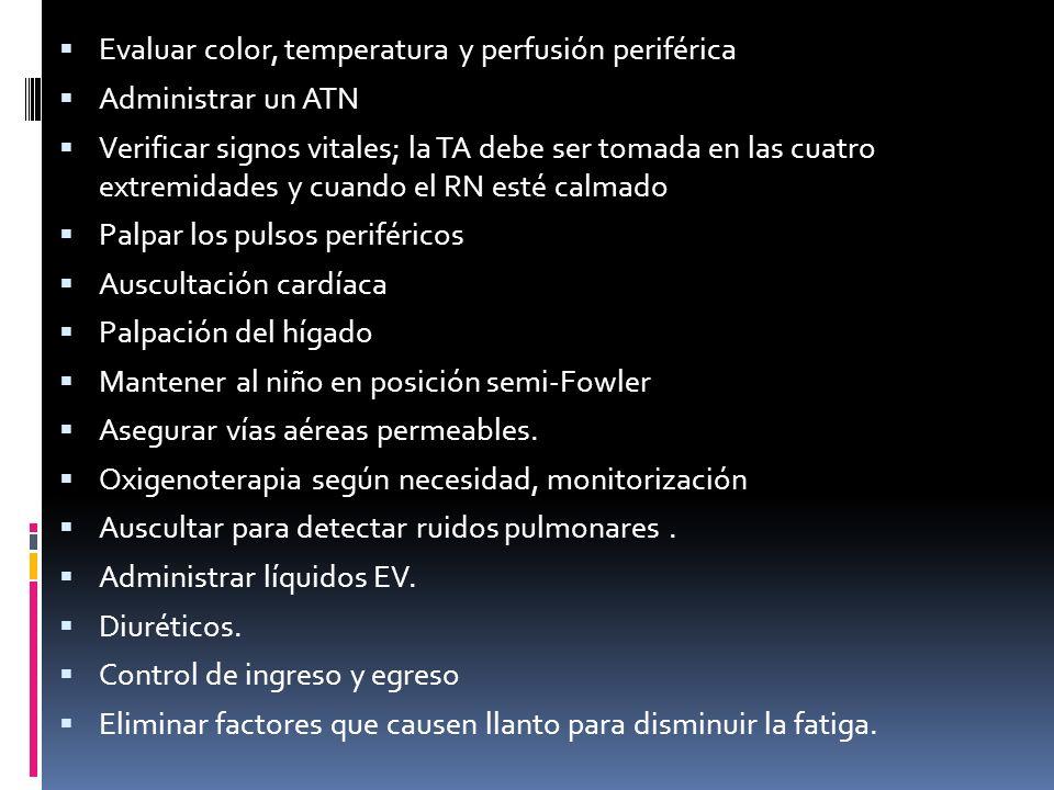 Evaluar color, temperatura y perfusión periférica