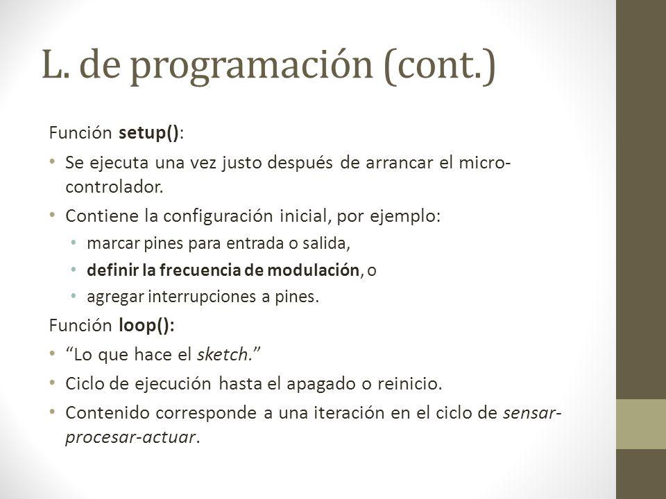 L. de programación (cont.)