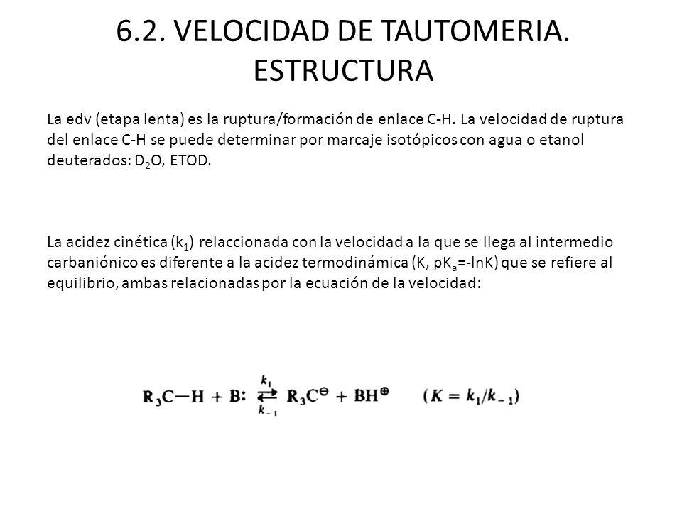 6.2. VELOCIDAD DE TAUTOMERIA. ESTRUCTURA