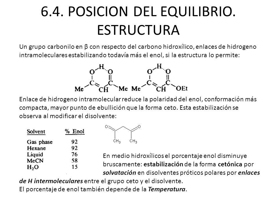 6.4. POSICION DEL EQUILIBRIO. ESTRUCTURA