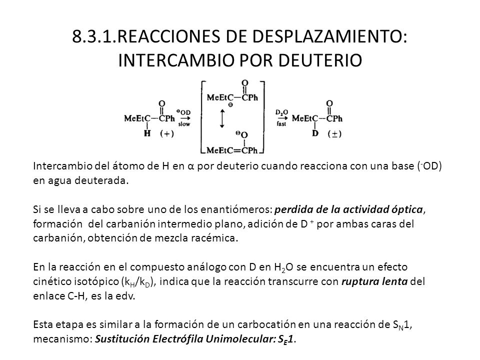 8.3.1.REACCIONES DE DESPLAZAMIENTO: INTERCAMBIO POR DEUTERIO