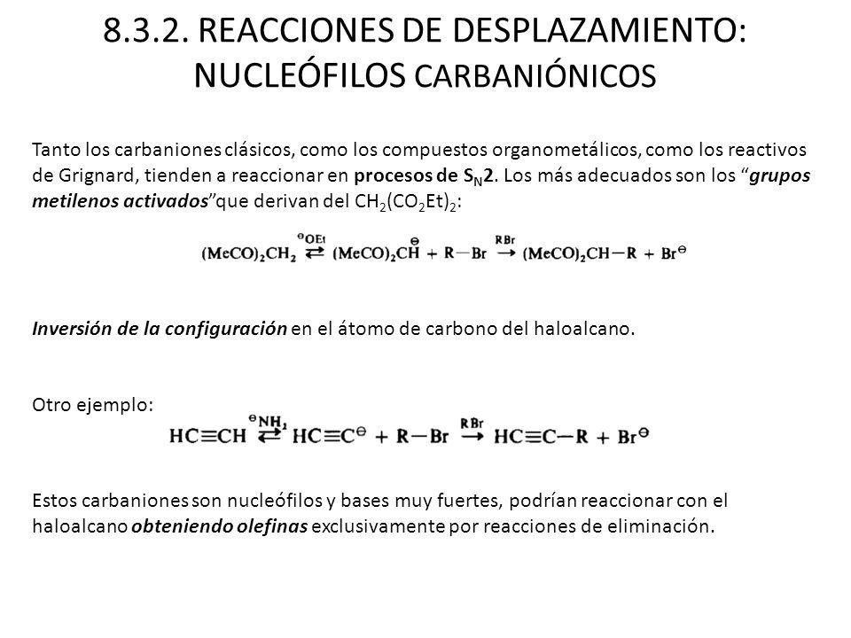 8.3.2. REACCIONES DE DESPLAZAMIENTO: NUCLEÓFILOS CARBANIÓNICOS