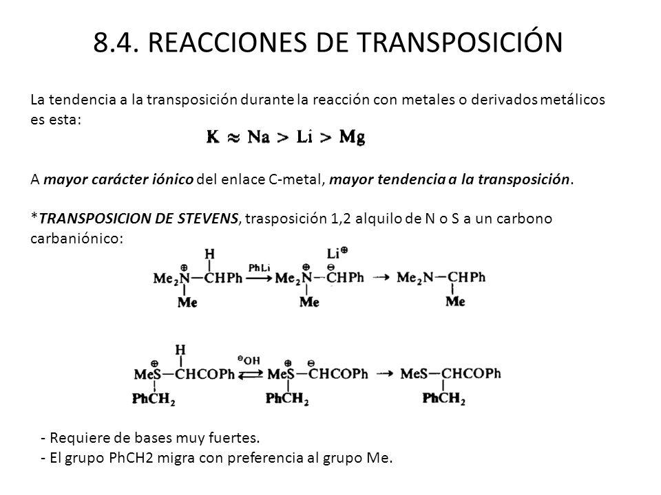 8.4. REACCIONES DE TRANSPOSICIÓN