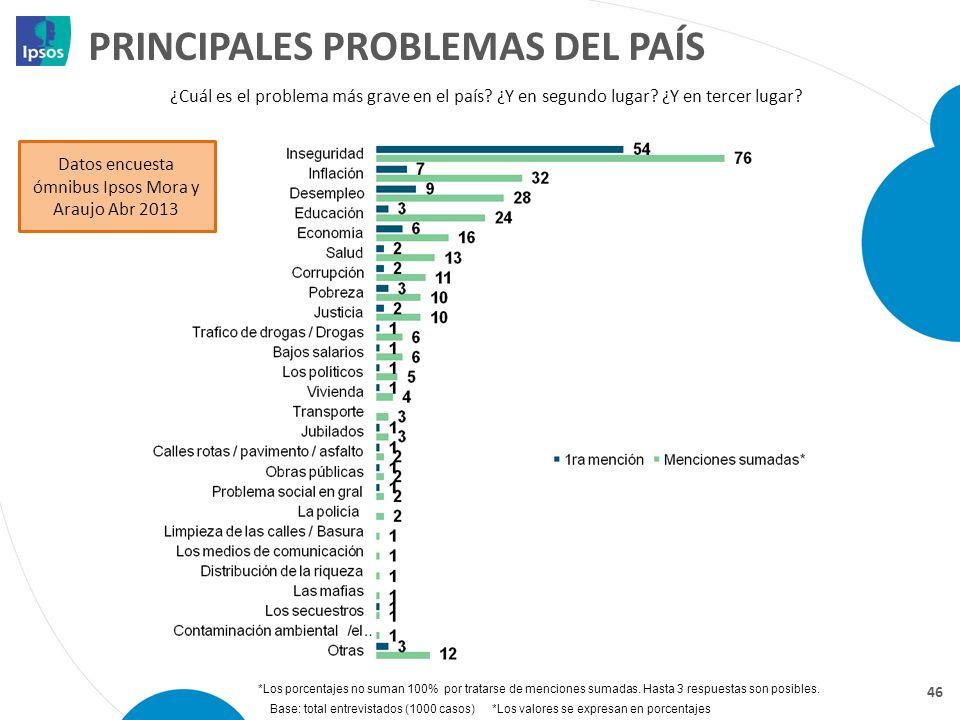 PRINCIPALES PROBLEMAS DEL PAÍS
