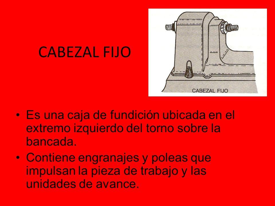 CABEZAL FIJO Es una caja de fundición ubicada en el extremo izquierdo del torno sobre la bancada.