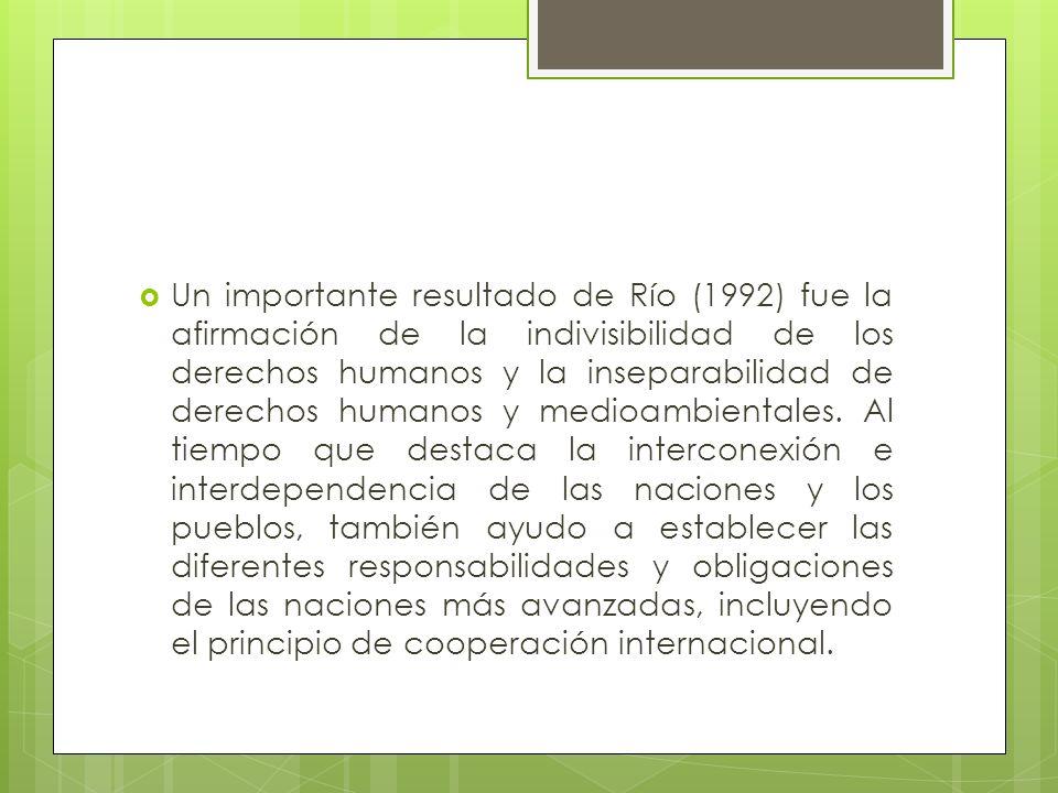 Un importante resultado de Río (1992) fue la afirmación de la indivisibilidad de los derechos humanos y la inseparabilidad de derechos humanos y medioambientales.