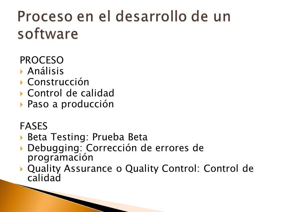 Proceso en el desarrollo de un software