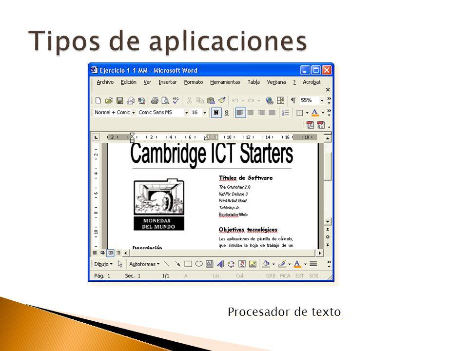 Tipos de aplicaciones Procesador de texto