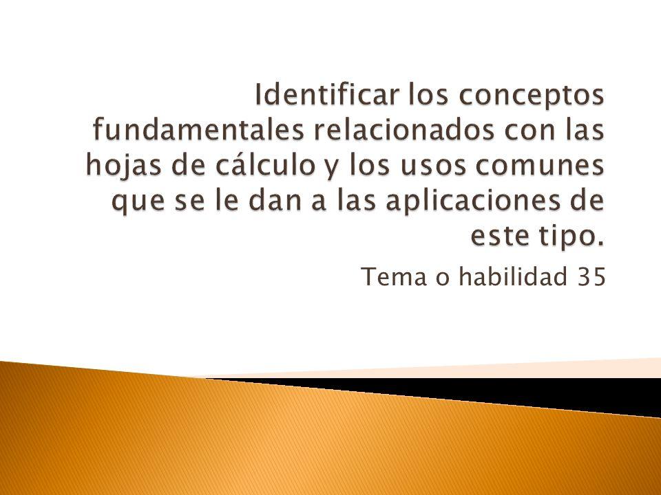 Identificar los conceptos fundamentales relacionados con las hojas de cálculo y los usos comunes que se le dan a las aplicaciones de este tipo.