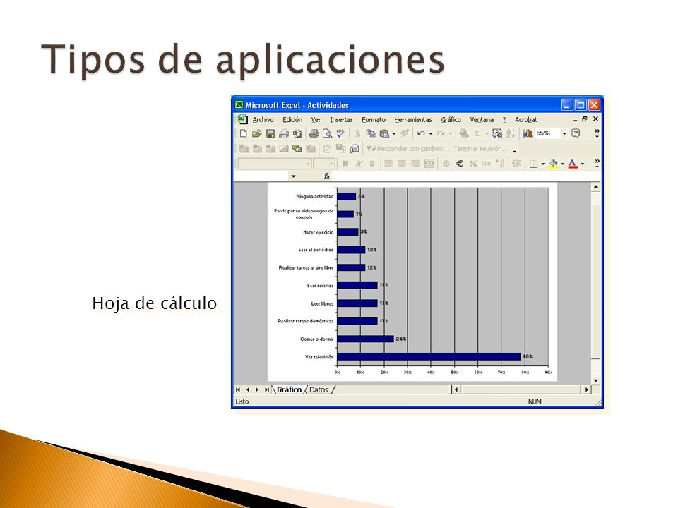Tipos de aplicaciones Hoja de cálculo