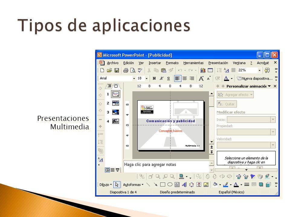 Tipos de aplicaciones Presentaciones Multimedia