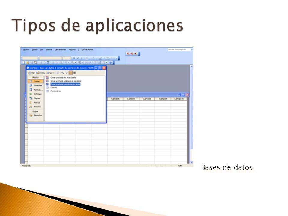 Tipos de aplicaciones Bases de datos